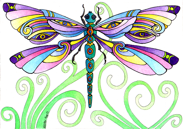 Whimsical dragonfly drawings - photo#15