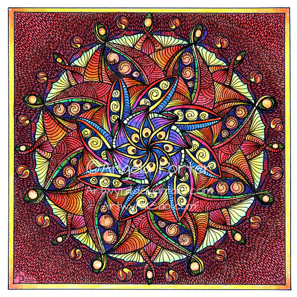 August Mandala 8 with background © Angela Porter 2013