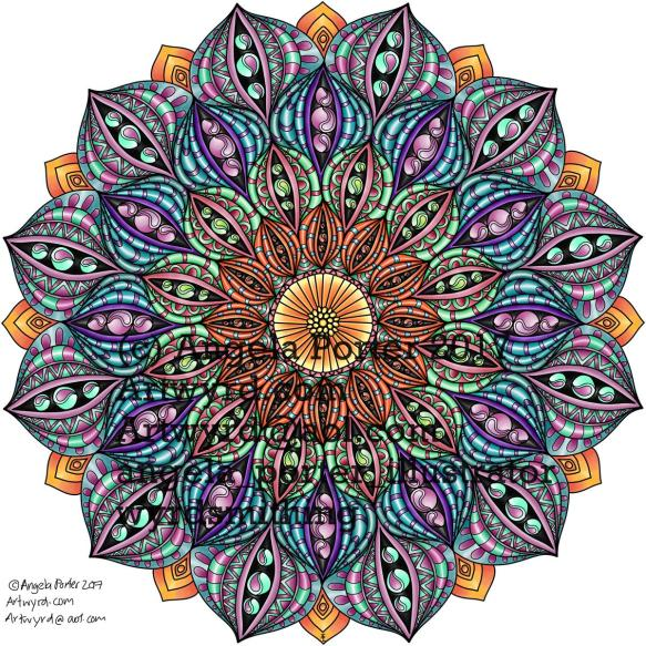 Angela Porter Autumn Mandala 02 coloured Sept 2017