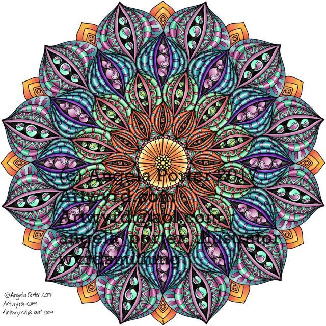 Angela Porter Autumn Mandala 02 coloured Sept 2017
