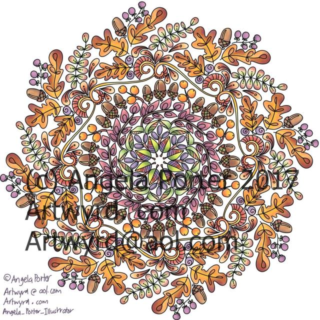 Autumn Mandala 01Coloured Angela Porter