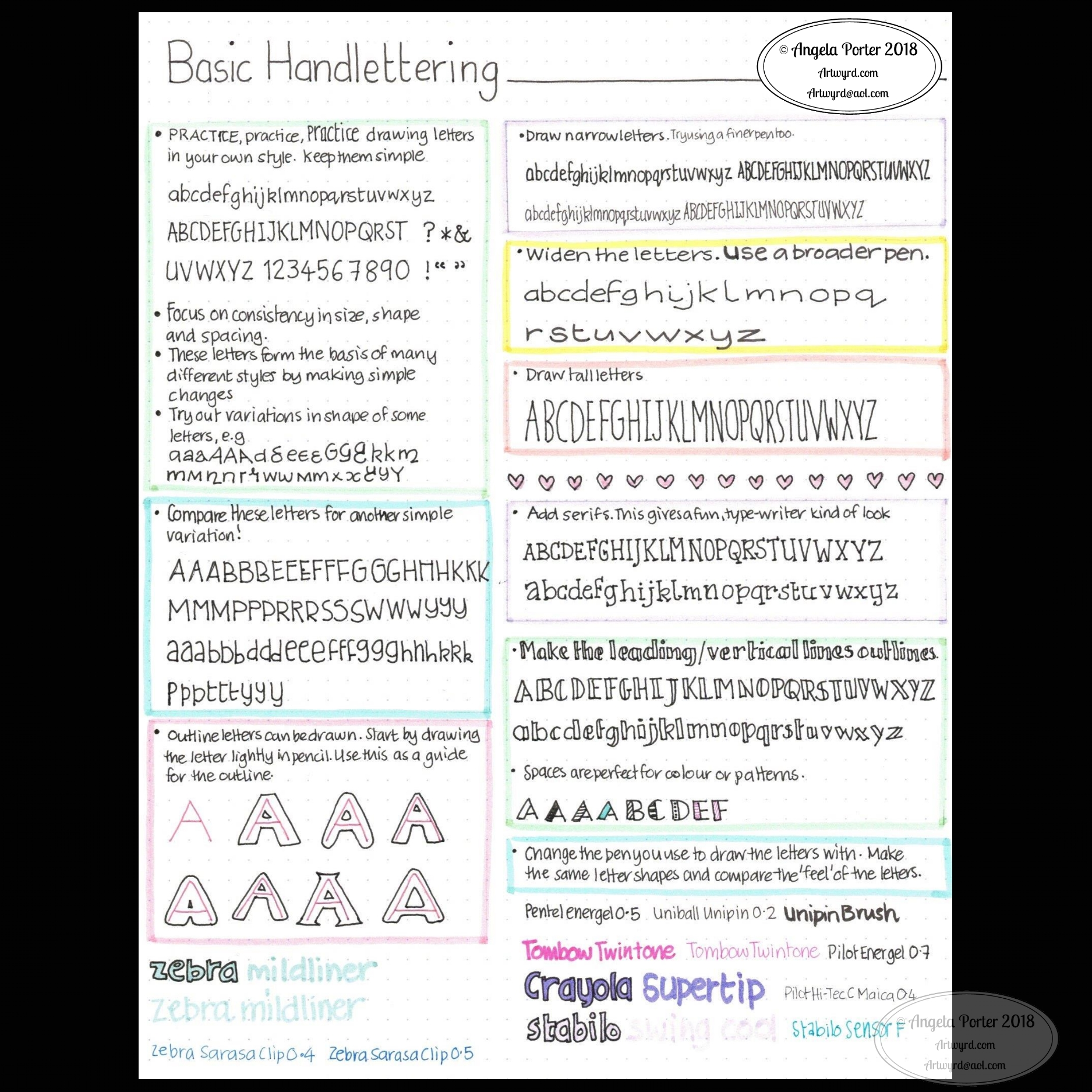 hand lettering ideas – Angela Porter