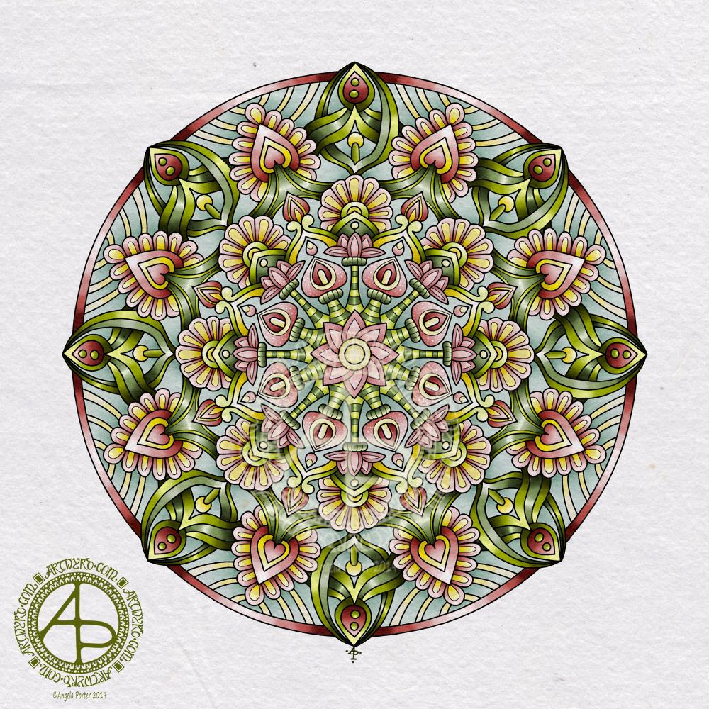 Mandala in succulent colours © Angela Porter 2019