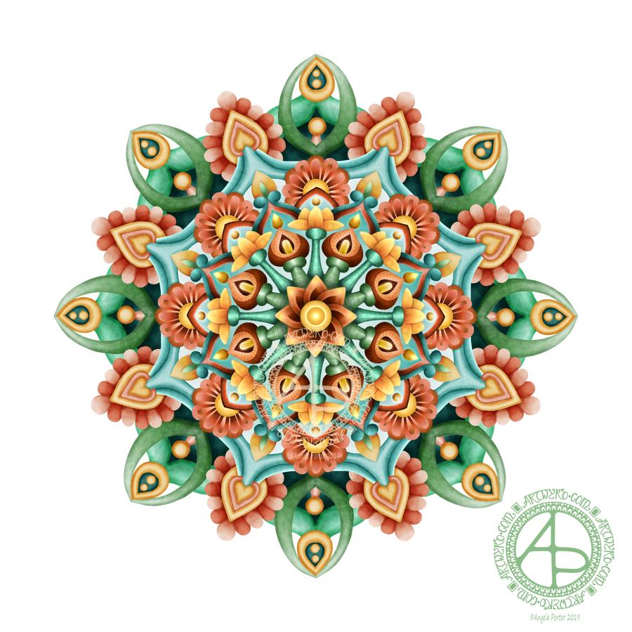 Mandala in Succulent Colors © Angela Porter 2019