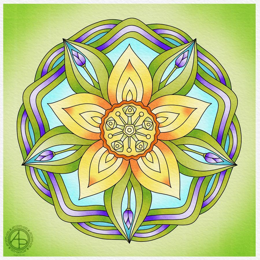 Spring Equinox Mandala 2019 by Angela Porter