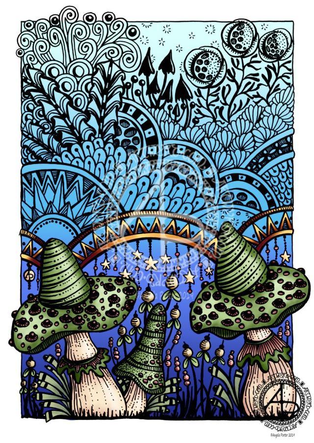 Entangled Fantastic Fungi WIP © Angela Porter 2019 Artwyrd.com