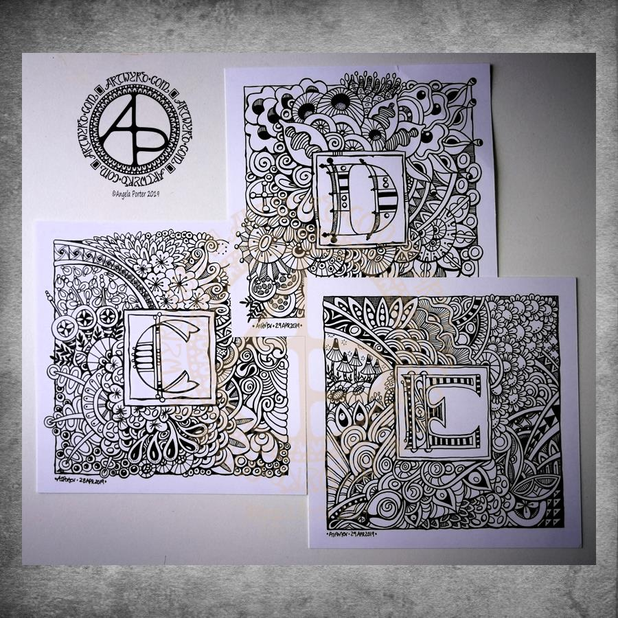 Entangled Monograms C, D and E ©Angela Porter 2019 - Artwyrd.com