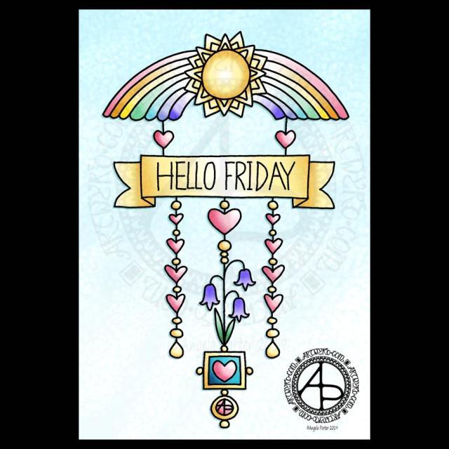 Hello Friday - a dangle design © Angela Porter 2019 Artwyrd.com