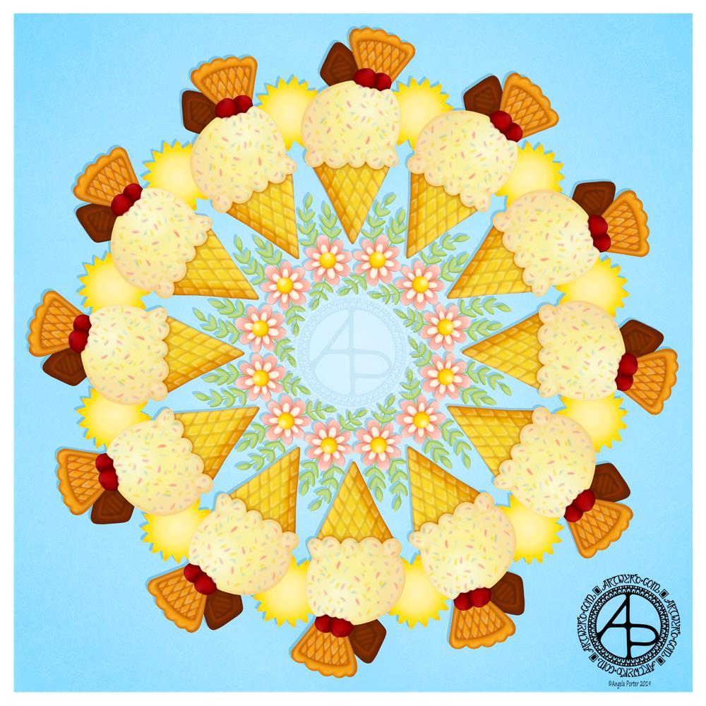 A bit of whimsy - an ice cream mandala ©Angela Porter | Artwyrd.com