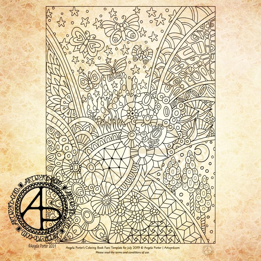 July 2019 Colouring Template for members of the Angela Porter Illustrator's Coloring Book Fans facebook group ©Angela Porter 2019 | Artwyrd.com