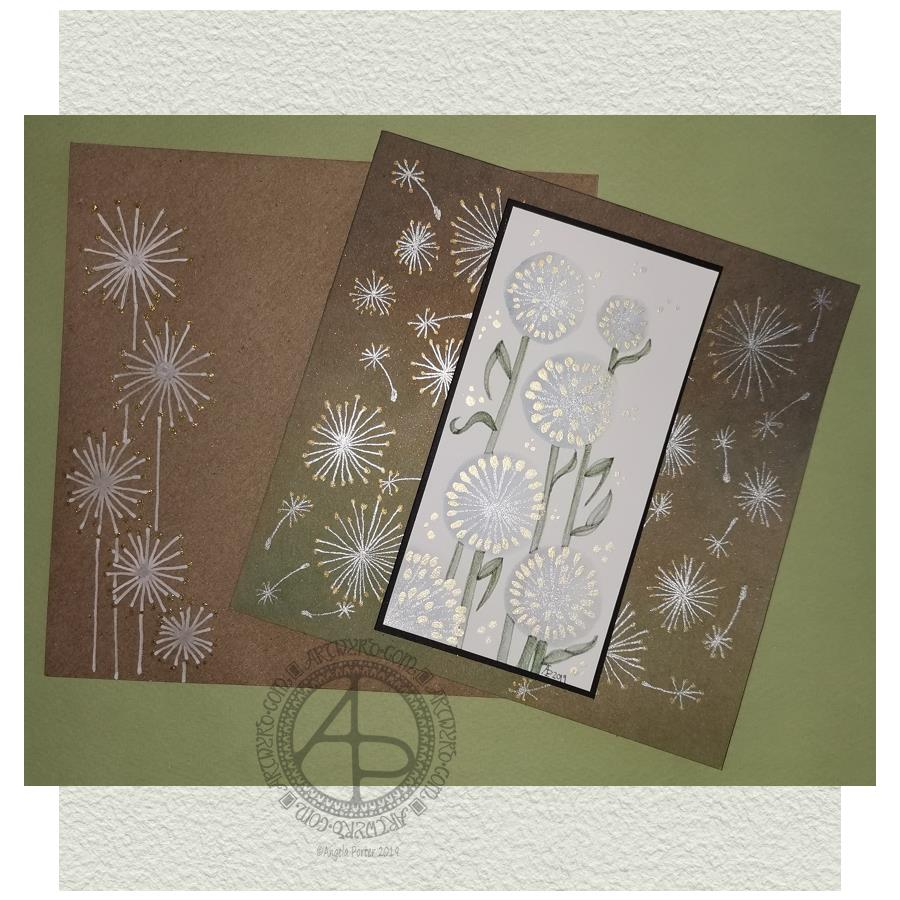 Dandelion Card and Envelope Mail Art © Angela Porter | Artwyrd.com