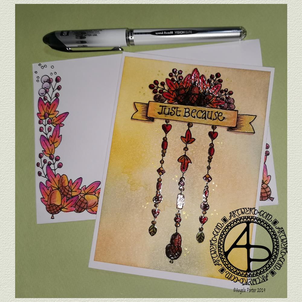 Just because - Autumn dangle design greeting card © Angela Porter | Artwyrd.com