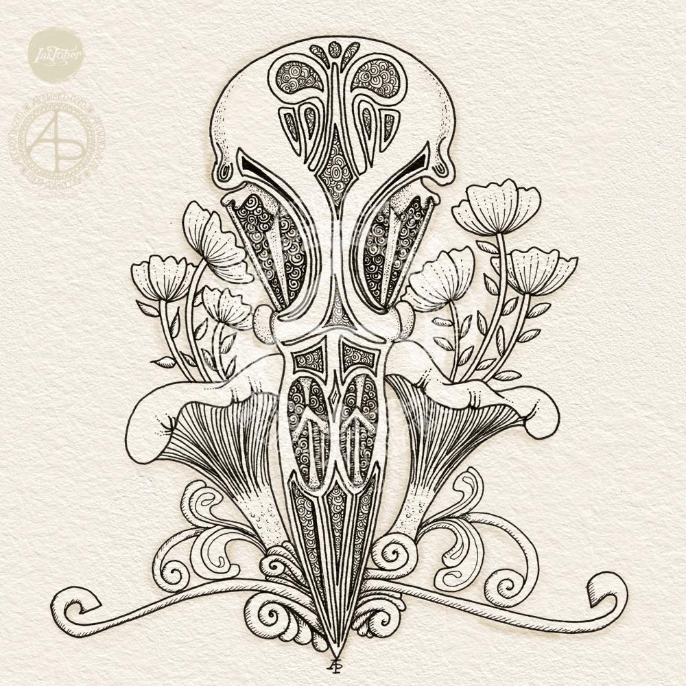 Raven skull and chanterelle drawing for Inktober 2019